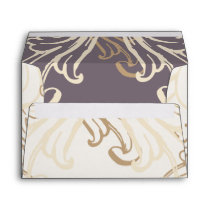 Gold Purple Vintage Wedding Envelope