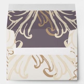 Gold Purple Vintage Wedding Envelope