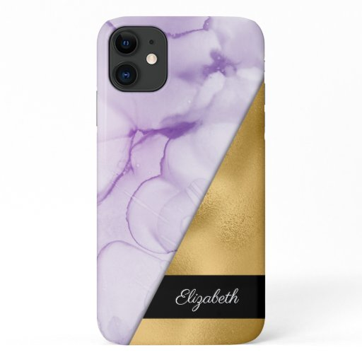 Gold Purple Watercolor Ink Your Name iPhone 11 Case