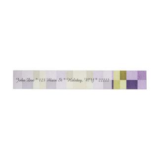 Gold & Purple Woodgrain Pattern Wrap Around Address Label