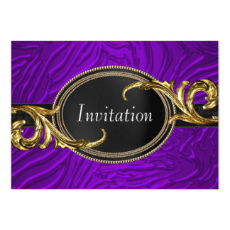 Gold Purple Zebra All Occasion Party Card