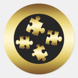 GOLD PUZZLE PIECES CLASSIC ROUND STICKER