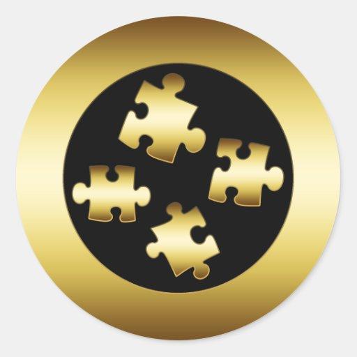 GOLD PUZZLE PIECES ROUND STICKER