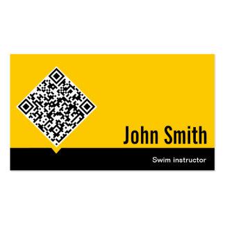 Gold QR Code Swim Instructor Business Card