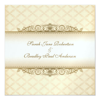 Gold Quilted Print Baroque Wedding Invitations