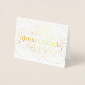 Gold Quinceañera Decorative Quince Años Birthday Foil Card