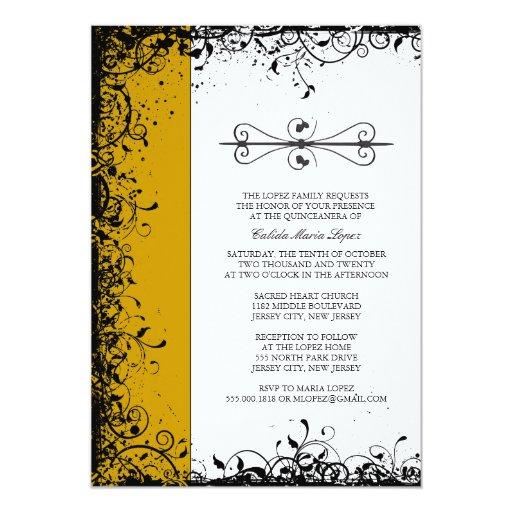 Gold Quinceanera Invitations