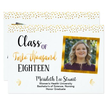 Professional Business Gold Quote Elegant 2 Photo Graduation Announcement
