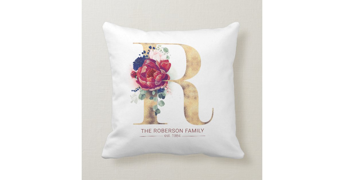 Gold R Monogram Floral Burgundy Red And Navy Blue Throw Pillow Zazzle Com