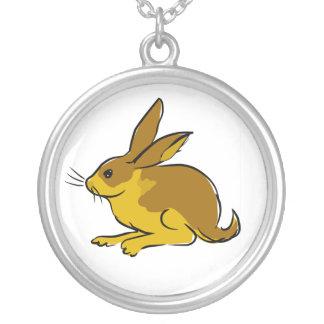 Gold Rabbit Round Pendant Necklace