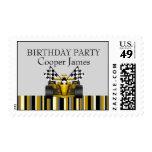 Gold Race Car Stamp