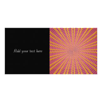 Gold Radial Netting on Pink Design Photo Card