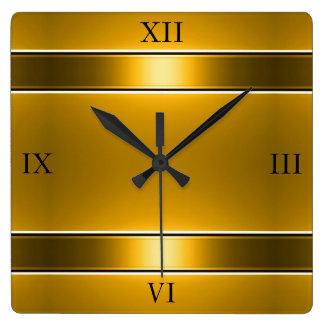Gold Rail Square Wall Clock