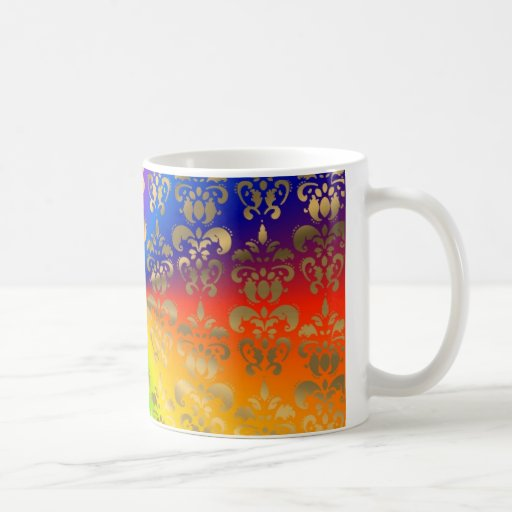 Gold rainbow damask classic white coffee mug