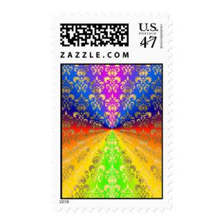 Gold rainbow damask stamp