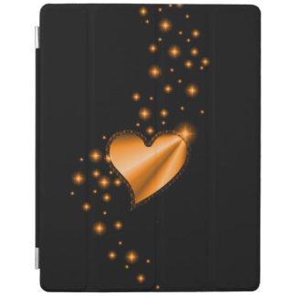 Gold Rainbow Heart with Stars on black iPad Cover