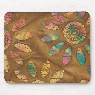 Gold Rainbow Pastels Daisy Flower Batik Mouse Pad