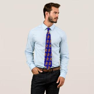 Gold Rampant Lion on Blue Tie