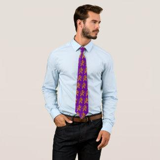 Gold Rampant Medieval Lion on Purple Neck Tie