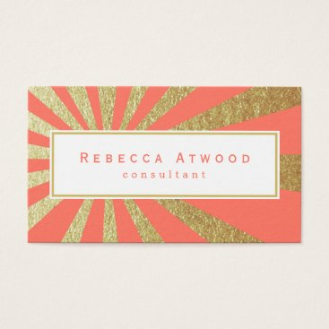 Professional Business Gold Rays Pattern Business Cards Coral