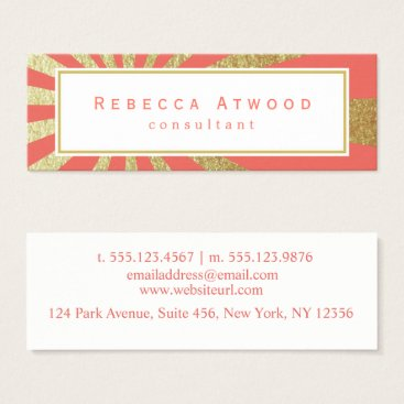 Professional Business Gold Rays Pattern Mini Business Cards Coral