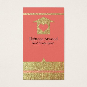 Professional Business Gold Real Estate Agent Business Cards Coral