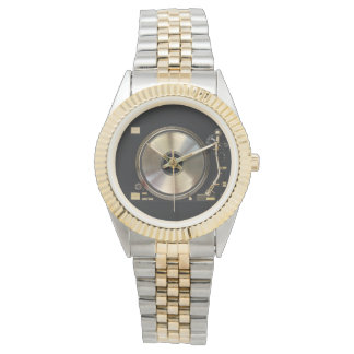 gold record turntable watch