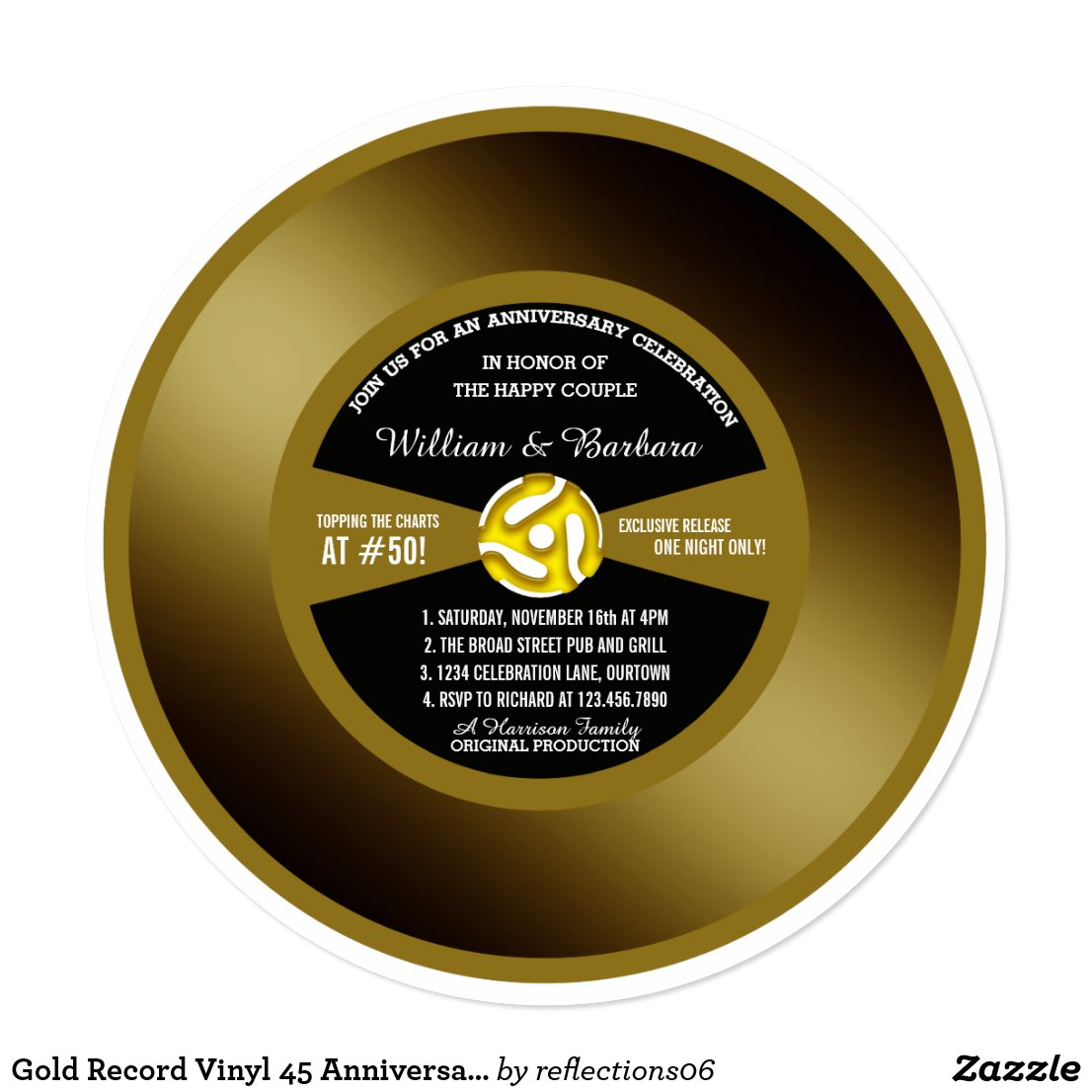 Gold Record Vinyl 45 Anniversary Party Invitation