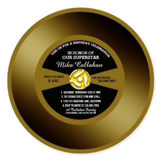 Gold Record Vinyl 45 Birthday Party Invitation