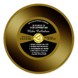 Gold Record Vinyl 45 Retirement Party Invitation