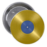 Gold Record with Blue Label 3 Inch Round Button