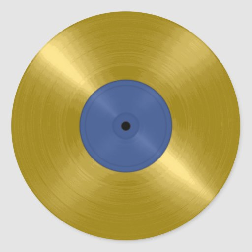 Gold Record with Blue Label Classic Round Sticker