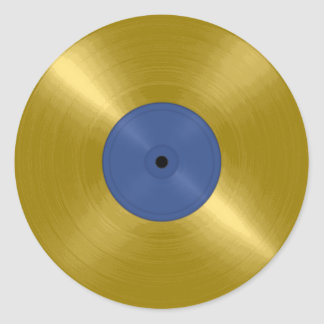 Gold Record with Blue Label Round Sticker