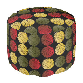 Gold, Red and Olive Green Scribble Circle Pattern Round Pouf
