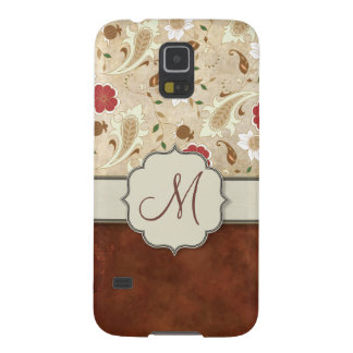 Gold, Red and White Floral on Parchment Monogram Galaxy S5 Case