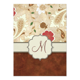 """Gold, Red and White Floral on Parchment Monogram 5.5"""" X 7.5"""" Invitation Card"""