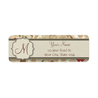 Gold, Red and White Floral on Parchment Monogram Label