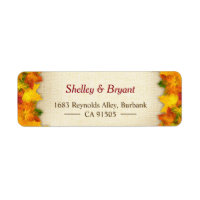 Gold Red Autumn Leaves Rustic Burlap Seasonal Label