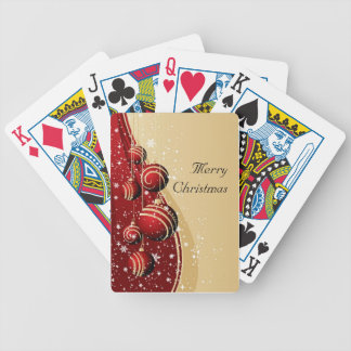 Gold Red Baubles Season s Greetings Playing Cards