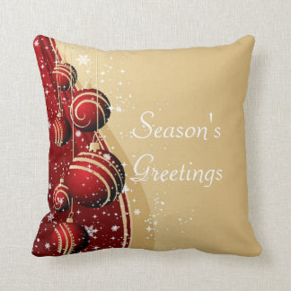 Gold Red Baubles Season's Greetings Pillow