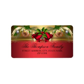 Gold Red bells & Baubles Christmas Address Labels