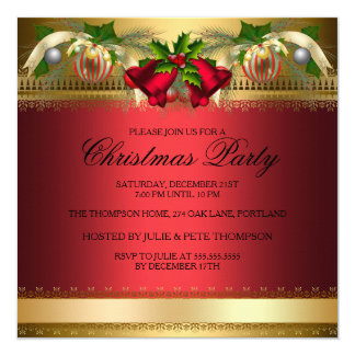 Gold Red bells & Baubles Christmas Party Invite
