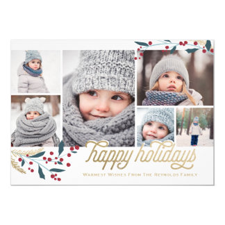Gold Red Berries 6 Photo Collage | Happy Holidays Card
