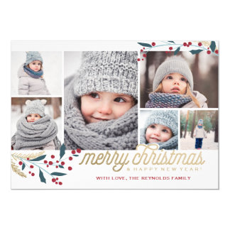 Gold Red Berries 6 Photo Collage   Merry Christmas 5x7 Paper Invitation Card