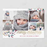 "Gold Red Berries 6 Photo Collage | Merry Christmas Holiday Card<br><div class=""desc"">This whimsical and festive 6 photo holiday card features a photo collage,  winterberries and says Merry Christmas and Happy New Year!</div>"
