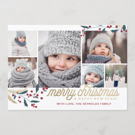 Gold Red Berries 6 Photo Collage | Merry Christmas Holiday Card