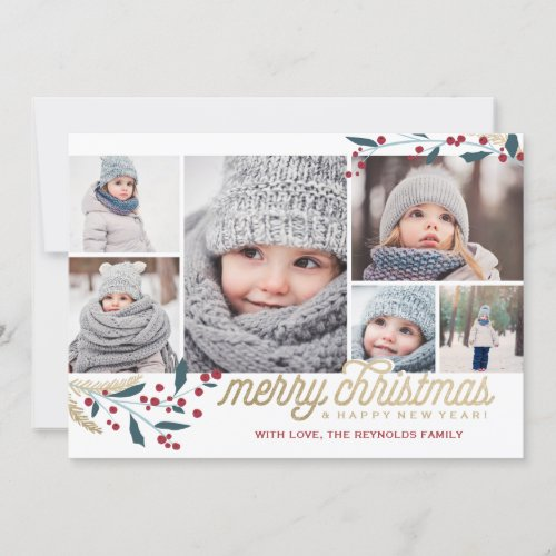 Gold Red Berries 6 Photo Collage  Merry Christmas Holiday Card