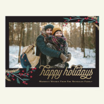 Gold Red Berries Photo Frame | Happy Holidays Postcard