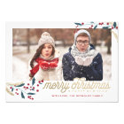 Gold Red Berries Photo Frame | Merry Christmas Card