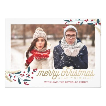 Christmas Themed Gold Red Berries Photo Frame   Merry Christmas Card